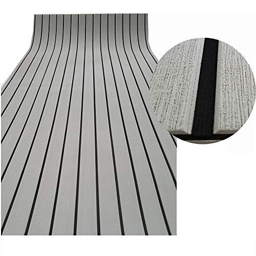 yuanjiasheng 90 × 240 x0.6cm Eva-Schaum Deckbeschläge für Boote Yacht Marine Bodenbelag Rutschfester Teppich Mit Kleberücken (Bevel Edge) (Hellgrau Mit Schwarz) (Teppich Gummi Boot)