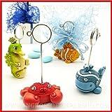 Ingrosso e Risparmio Bomboniere festa memoclip portafoto in resina colorata a forma di animaletti del mare colorati in 4 varianti assortite completi di asta in metallo(kit 12 pz)