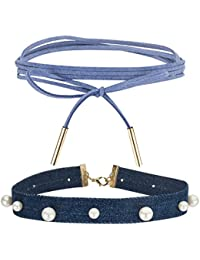 Jewels Galaxy Limited Edition Blue Lace & Broad Denim Fabic Flawless Pearl Designer Choker Necklaces For Women...