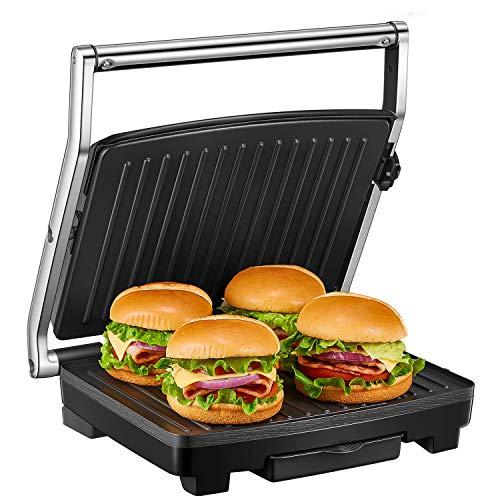 Deik Kontaktgrill, Sandwichmaker, 4-Scheiben Sandwichtoaster, 2000W Sandwich-Maker mit Temperaturregelung, mit antihaftbeschichteten Platten und herausnehmbarer Auffangschale