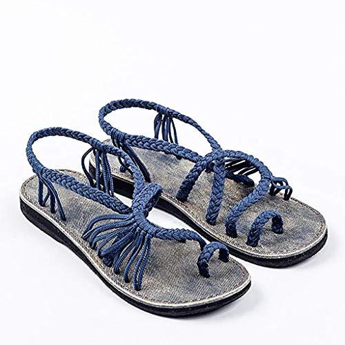 Flache Sandalen Für Frauen Palm Leaf, Womens Beach Flache Sandalen Blau 35~43,37 -