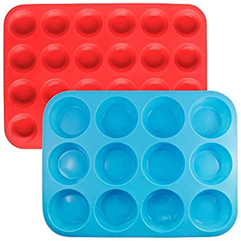 Silicone Muffin Cupcake Baking Pan Set, SENHAI 2 Pack (24&12 Cups) Cake Molds Ice Cube (Food Grade Cera)