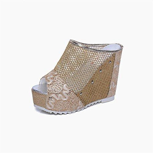 Heart&M Summer Gold Femmes / Argent / Noir Mesh Peep Toe talon haut talon compensé Sandales plateforme Creeper Chaussons Gold