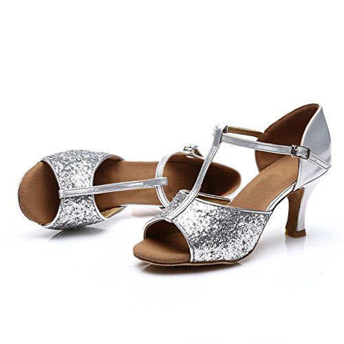 HROYL Damen Tanzschuhe/Latin Dance Schuhe Satin Ballsaal Modell-D7-216 Silber EU39 - 6