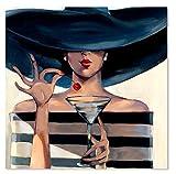 AYANGZ 100% handgemalte Ölgemälde - zeitgenössische Kunst Kubismus Arrogante Frau Moderne Wohnzimmer Restaurant Home Decor Artwork, 1 Stück, 31 * 31 Zoll,31 * 31inch