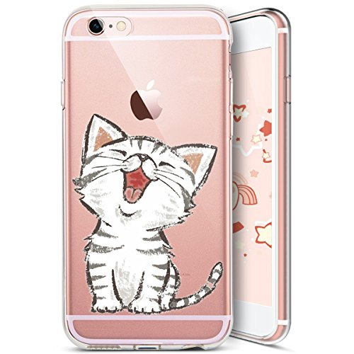 Coque iPhone 7,Coque iPhone 8,Ukayfe [Liquid Crystal] Coque en Silicone Souple TPU Housse Etui de Protection avec Absorption de Choc et Anti-Scratch Silicone Transparent Coque [Créatif Chat Motif] Étu Chat#9