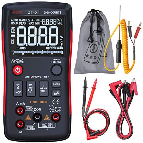 BSIDE True RMS Digitales Multimeter, 3 Zeilen-Display, 9999 Counts, Knopf-Design, automatische Rangierung, Elektriker, DMM, Temperatur, Kapazität, Voltmeter mit Krokodilklemme Display Digital Multimeter