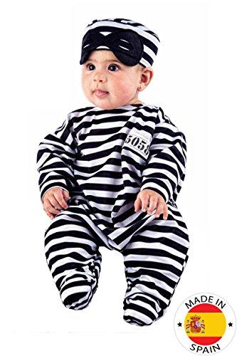 Sträfling Baby Kostüm Strampler weiss-schwarz 50/68 (0-6 Monate)