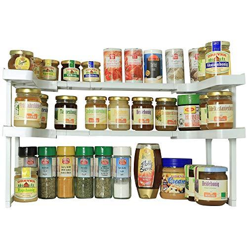 Regal Gewürzregal (UPP Schrank-System-Regal flexibel & erweiterbar - 2er Regal Set - 42 teiliges Küchenregal - Gewürzregal für 64 Gewürze)