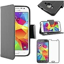 ebestStar - para Samsung Galaxy Core Prime SM-G360F, 4G SM-G361F VE [Dimensiones PRECISAS de su aparato : 130.8 x 67.9 x 8.8 mm, pantalla 4.5''] - Funda Carcasa Estuche Billetera Soporte PU cuero + Película protectora de pantalla de Vidrio Templado, Color Negro