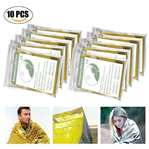 Manta de Emergencia (Paquete de 10), Migimi Manta de Supervivencia, Impermeable y resistente al viento térmico mantas supervivencia rescate Manta, 210X160cm