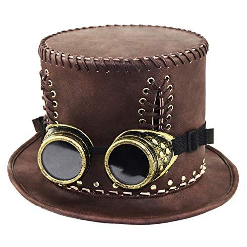 Amosfun sombreros de copa steampunk marrón con gafas sombrero steampunk de estilo retro industrial sombrerodisfraces de fiesta de cosplay de halloween (talla s 54-56cm)
