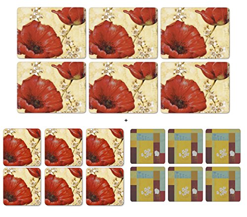 pimpernel-poppy-de-villenueve-6-platzsets-6-untersetzer-6-gratis-bonus-plymouth-untersetzer