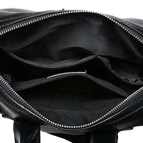 Valin Q0805 Damen Leder Handtaschen Top Handle Satchel Tote Taschen Schultertaschen,28x13x29 B x T x H (cm) Schwarz