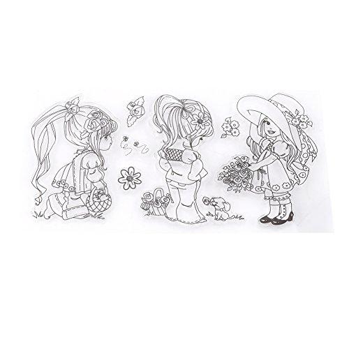 1 Satz Transparent Sammelalbum Fotoalbum Transparente Silikon Cartoon Mädchen Briefmarken Clear Stamps Für DIY Sammelalbum Foto Karten 9*16.7cm