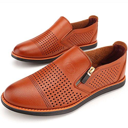 GRRONG Chaussures En Cuir Pour Hommes Creux Loisirs Noir Brown brown