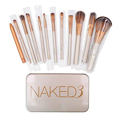 AISI Lot de 12 poignée en bambou pinceaux de maquillage Kabuki Poudre Fond de teint fard à joues pinceaux cosmétiques avec boîte