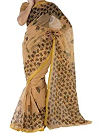 Kota Saree Kendra Cotton Zari Embroidered Saree With Blouse Piece (Beige_Free)