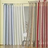 iovivo Organza Gardine Dunja mit Webstreifen und Schlaufen Einzel Gardinenschal, blau, 235X130 CM