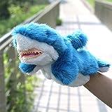 XuBa Cartoon-Hai-Handpuppe, süßes Plüschtier Spielzeug Eltern-Kind interaktives Spielzeug Geschenk Geschichtenerzähler Requisite Geburtstag Geschenk für Kinder blau