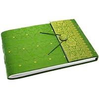 Fair Trade Album per fotografie ricoperto in tessuto sari verde 260 x 180 mm