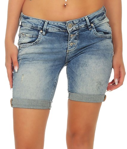 M.O.D Damen Jeans Shorts Ulla kurze Hose Washed-Look portis blue W31