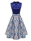 Zeagoo Damen Rockabilly Kleid Vintage Partykleid Blumen Muster elegant Knielang A-Line Kleid Stitching Hochzeit Party Abendkleid Cocktail