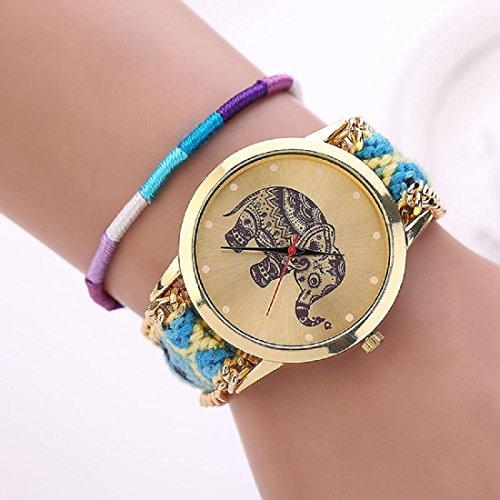 Amlaiworld Orologio da polso per Donne, Handmade Elephant Bracciale in rilievo Quadrante orologio al quarzo ( blu + giallo)