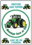 Print4you Runde Tortenoblade, 19cm, aus Zuckerguss, Motiv Grüner Traktor
