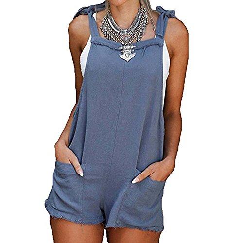 hellomiko Frauen Overall Denim Overalls Baumwolle Overalls Straps Jumpsuit Shorts Taschen Casual (Bib Stretch Power)