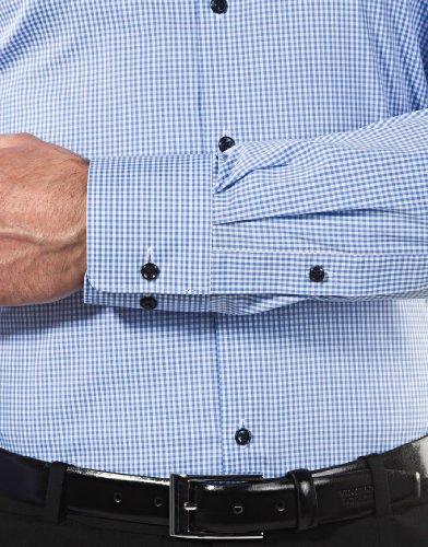 Vb–camicia da uomo Body Fit (stretch, taglio a evidenziare il contorno) controllare Blu chiaro/Bianco