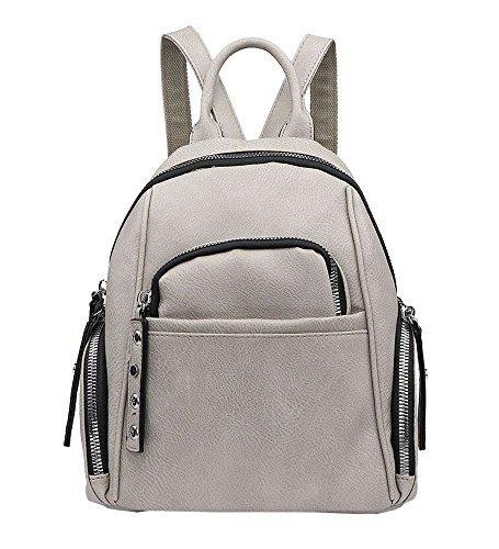 NEU Damen Kunstleder viele Reißverschluss Taschen Klein Rucksack Handtasche - grau, Small grau