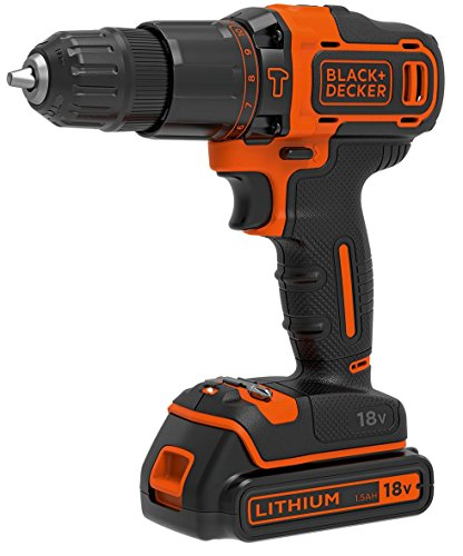Black and Decker BDCHD18KB   Taladro percutor  2 baterías 1.5 Ah y maletín  18 V  color negro y naranja