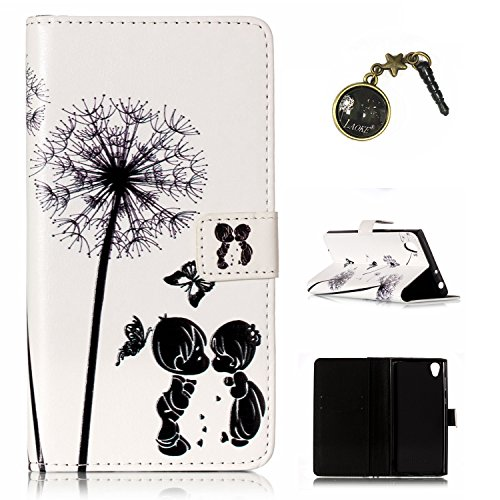 Preisvergleich Produktbild für Xperia L1 / Xperia E6 Case Leder Tasche Case Hülle im Bookstyle mit Standfunktion Kartenfächer für Sony Xperia L1 / Sony Xperia E6 Hülle +Staubstecker (1)