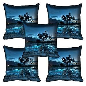 meSleep Nature 262-05 Digitally Printed Cushion Cover (16x16) - Set of 5