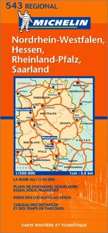 Carte routière : Nordrhein-Westfalen, Hessen, Rheinland-Pfalz, Saarland, N° 11543 (en allemand)
