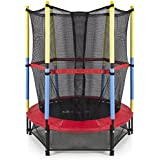 TruGood Big and Small Diameter Indoor, Outdoor Jumping Trampoline with Net for Kids, 55-inch (Red)
