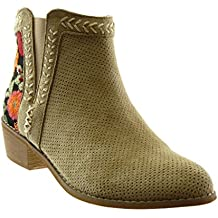 Angkorly Zapatillas Moda Botines Botas Mocasines Chelsea Boots Mujer Flores Perforado Bordado Tacón Ancho Alto 4