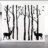 AIYANG Sticker Mural géant Arbre Bouleau Autocollants Deer Oiseaux Stickers muraux pour Enfant bébé Fille Chambre Salle de Jeux Decor (7Sets-Black)