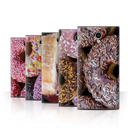 Stuff4 Hülle / Case für Sharp Aquos Crystal/306SH / Pack 8pcs / Schmackhafte Donuts - Crystal Schale Zucker