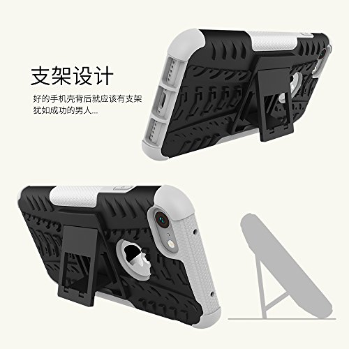 Nadakin Apple iphone 7 Hülle Schutzhülle Hybrid Rugged Phone Case Stoßfest Handys Schutz Cover mit eingebautem Kickstand Shockproof für Apple iphone 7 (Schwarz) Weiß