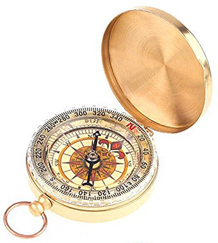 SaySure - Brass Pocket Watch Style Compass CAMPING Hiking