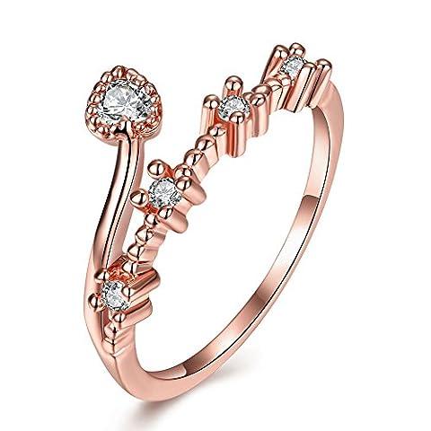 Thumby Alliage D'étain Le Titane Chromé 1.9g Mode Bague De Diamant En Forme De Coeur pour les femmes,white,8
