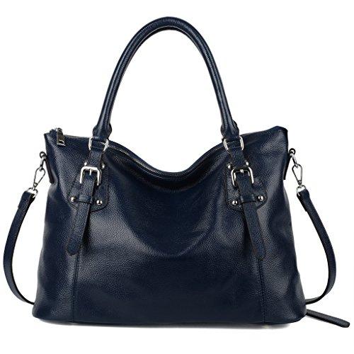 Imagen de yaluxe mujer estilo clasico cuero genuino suave  pequeña saco de mano grande bolsa de hombro azul