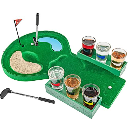 Fairly Odd Novelties Table Golf Shot Glass Drinking Game Set, Green
