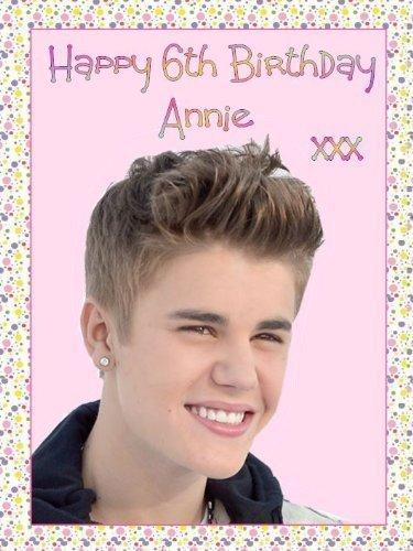 Justin Bieber PERSONALISIERT A4 Glasur Geburtstag Tortenaufsatz - BITTE SCHICKEN SIE UND DEN NAMEN und ALTER VIA 'GESCHENK NACHRICHT' ODER 'KONTAKT VERKÄUFER' OPTION (Geburtstag-dekorationen Bieber Justin)