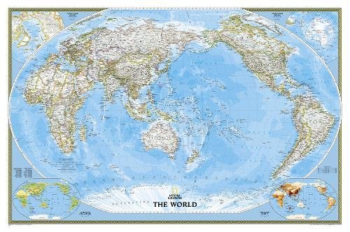 World Classic, Pacific Centered, Laminated: Wall Maps World: PP.NGW1020324 (National Geographic Reference Map)