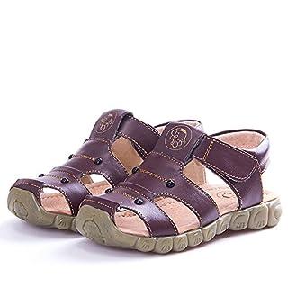 Eagsouni Unisex-Kinder Geschlossene Sandalen aus weichem Leder Outdoor Trekkingsandalen Lauflernschuhe Klettverschluss 32(Schuhe Innenlänge:19.5cm) Farbe Braun