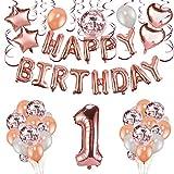 Howaf Oro Rosa 1 Compleanno Decorazioni per Bambina, 59 Pezzi Palloncini Oro Rosa Pendenti a Spirale Festone di Palloncini Compleanno 1 Anno Decorazioni per Ragazza