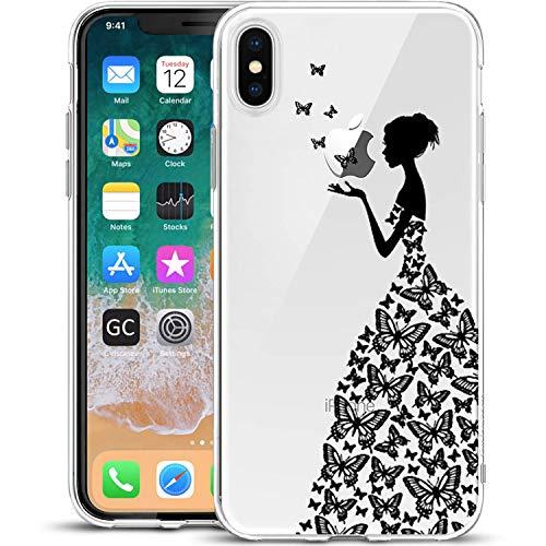 Girlscases®   Hülle kompatibel für iPhone XS, iPhone X / 10 Frau aus Schmetterlingen Schutzhülle aus Silikon mit Frau aus Schmetterlingen Aufdruck/Motiv Glänzend   Farbe: Schwarz